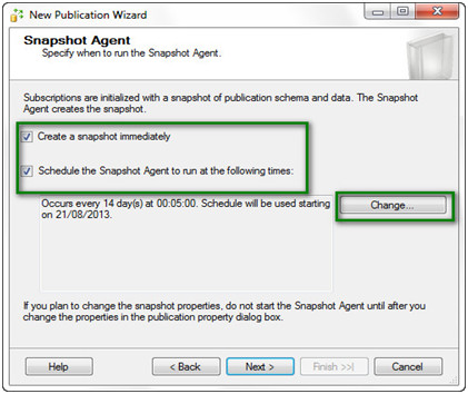 Step9 after scheduling the snapshot agent you have to specify the