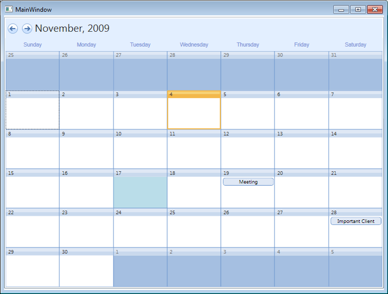 styling the wpf calendar to resemble outlooks month view calendar