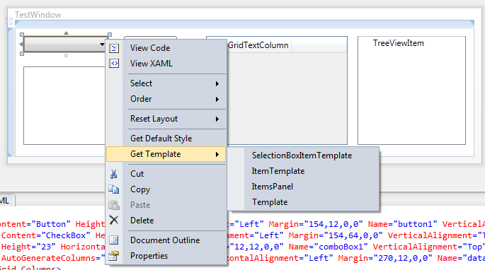 Wpf control s default style or template by extending the for Wpf menu template